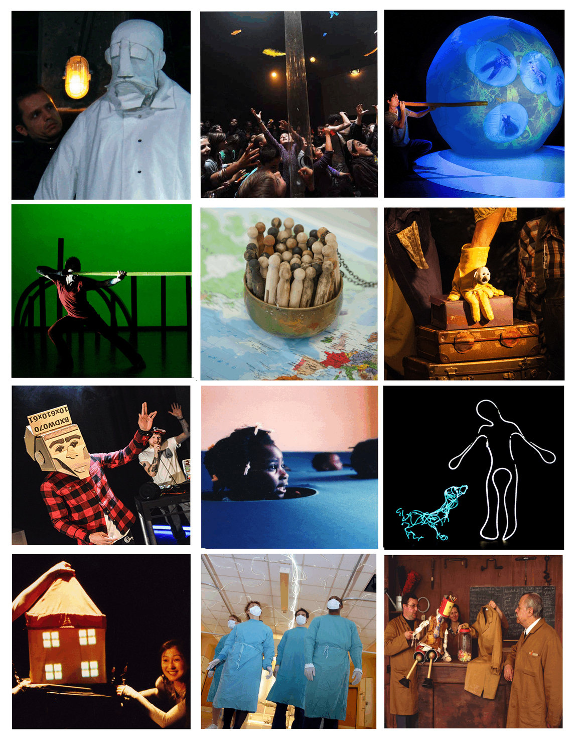 series of 12 images from different productions including a Saltman puppet, yellow gloveman puppet and a young girl with head poking out of fabric