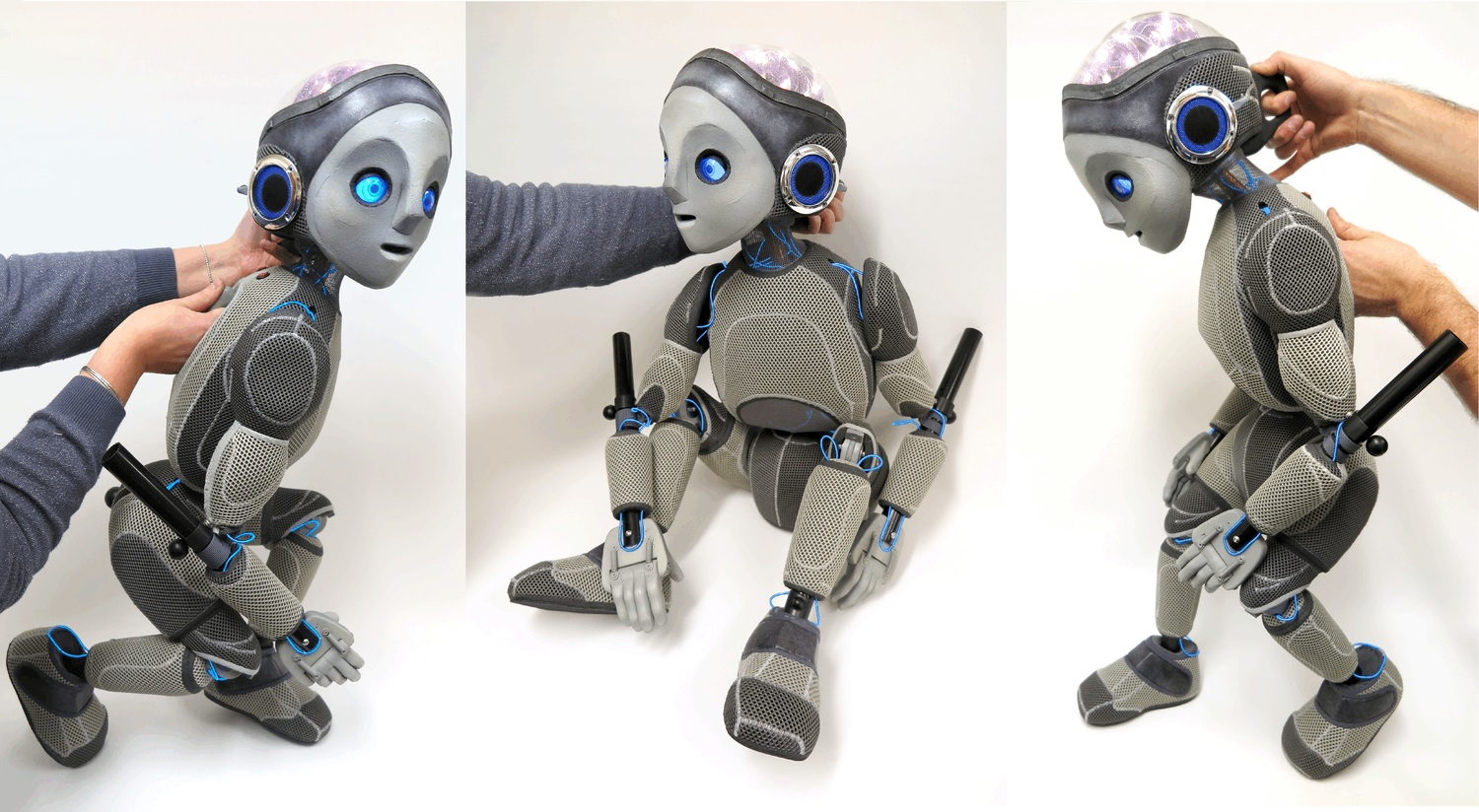 3 images of a robot puppet in different positions