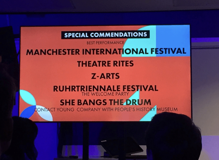 sign from Manchester Cultural Awards saying the Welcoming Party received a special commendation