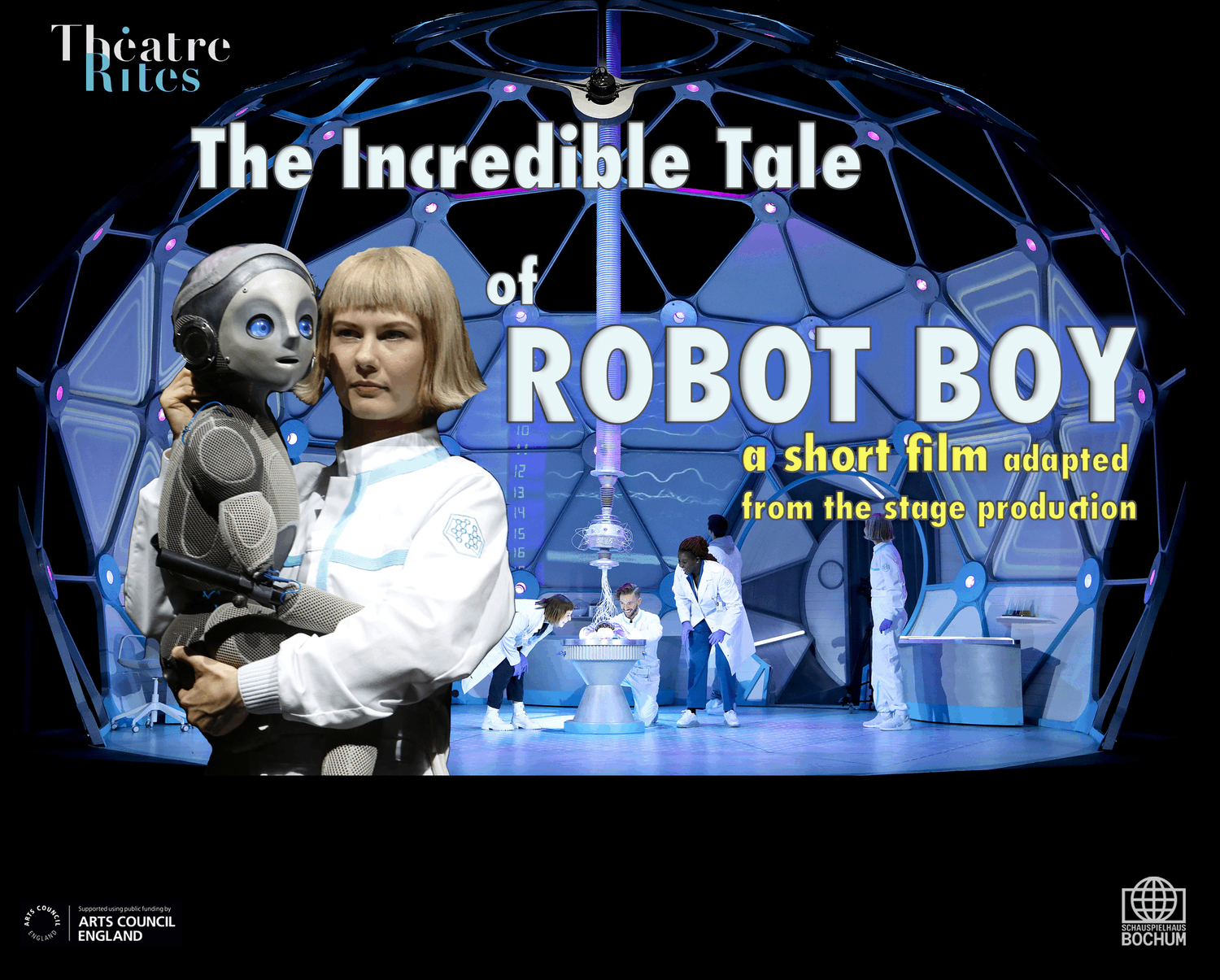 a female lab assistant holds a small robot boy in her arms set against a backdrop of a sci fi laboratory in the shape of a brain