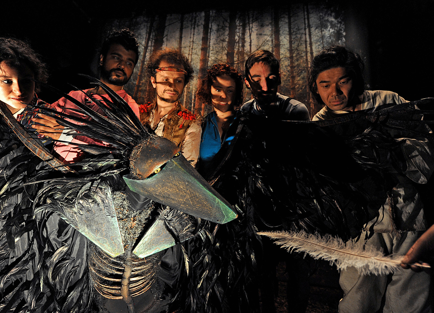 6 performers peer over a huge puppet bird with its wings out stretched. The bird is looking at a feather