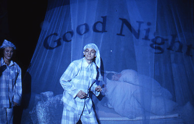 Two people wearing checked pyjamas and nightcaps stand in front of a man asleep in a bed enclosed by a net canopy. On the front of the netting we see the words Good Night.